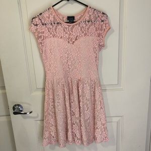 🎂Womens Baby Pink Lace Sweetheart Skater Dress